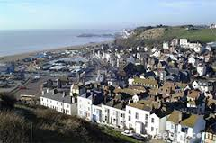 view of Hastings Old Town and beyond